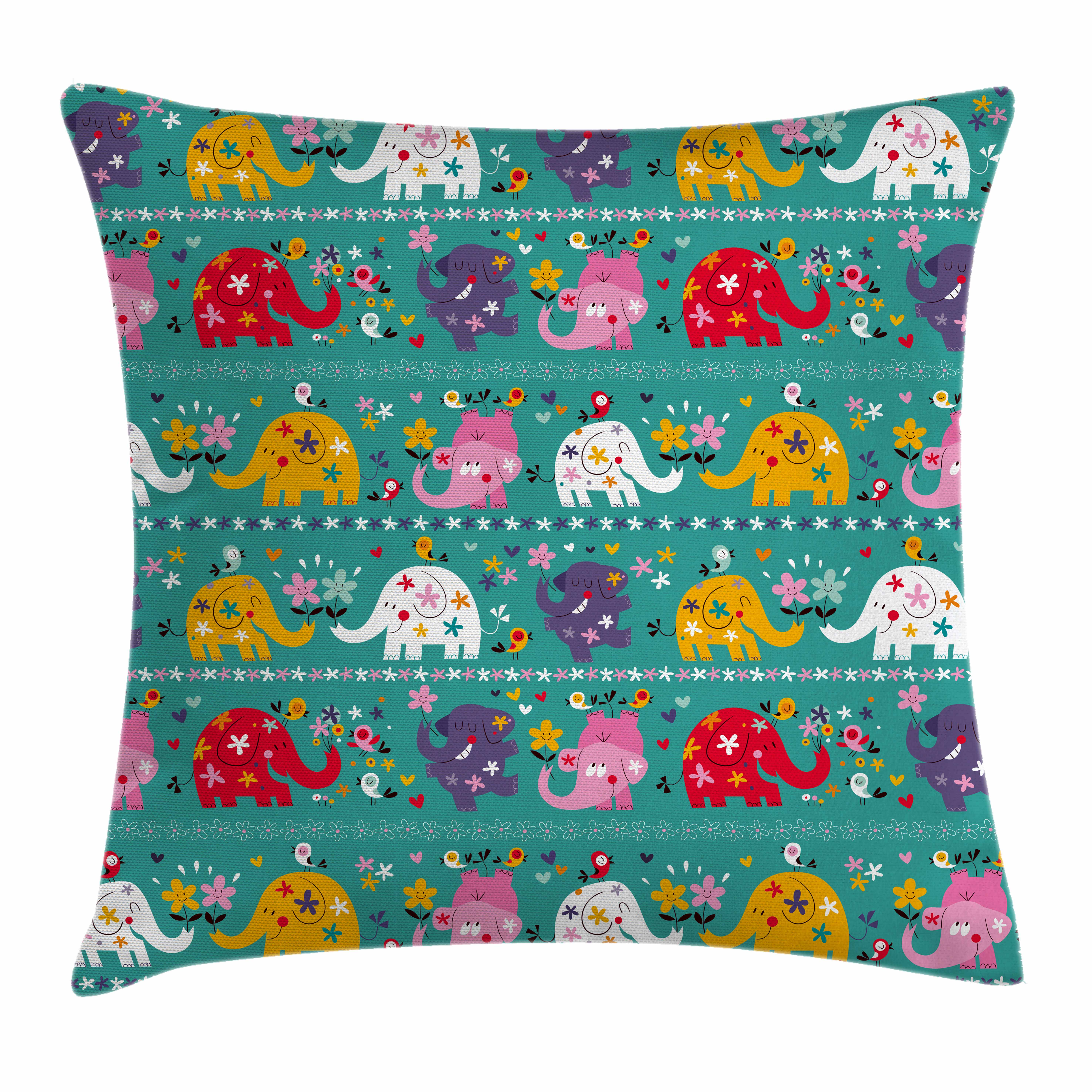 Elephant Nursery Decor Throw Pillow Cushion Cover, Joyful Kids Pattern Festive Colorful Animals Flowers Funny Nature, Decorative Square Accent Pillow Case, 16 X 16 Inches, Multicolor, by Ambesonne