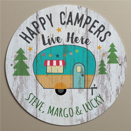Happy Campers Live Here Personalized Tin Sign - Personalized Outdoor Signs