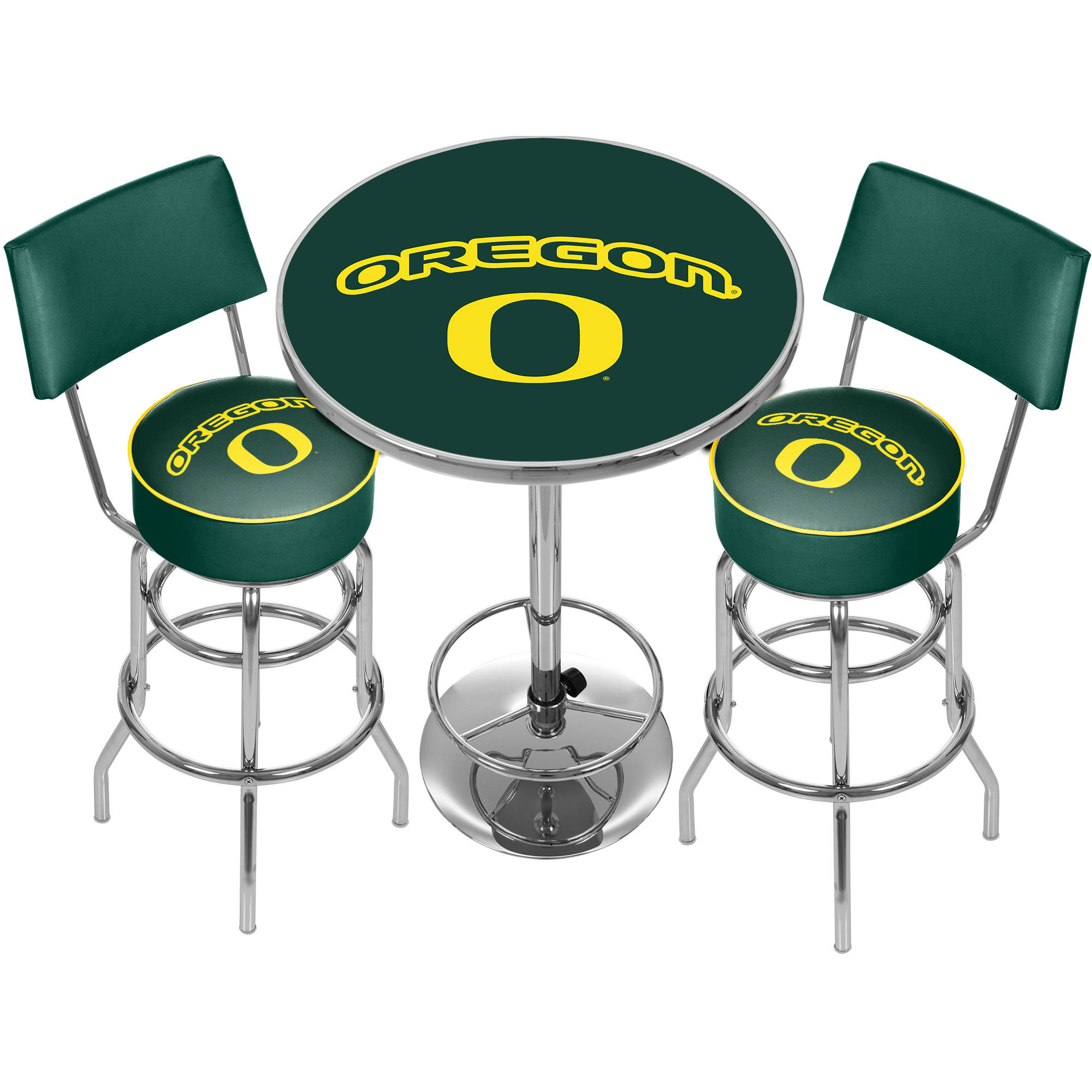 University of Oregon Game Room Combo, 2 Stools with Back and Table