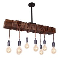 Farmhouse Chandelier Lights 8-Light Wood Beam Pendant Fixture Ceiling Light, Warm Light, Kitchen