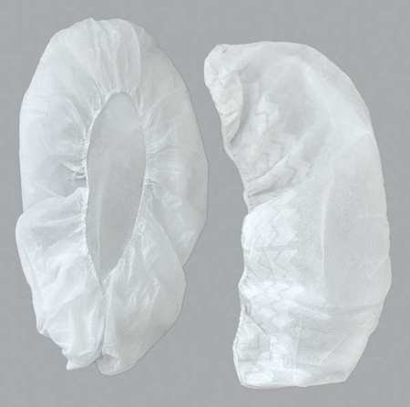 ACTION CHEMICAL A-2105W-N/S-18 Shoe Covers, SlipResistSole, L, White, PK300
