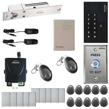 Visionis FPC-5564 One Door Access Control 1,700lbs Electric Drop Bolt Fail Safe Time Delay VIS-3002 Indoor use only Keypad/Reader Standalone No Software EM Card Compatible 500 Users and Receiver Kit (Cabinet Software)