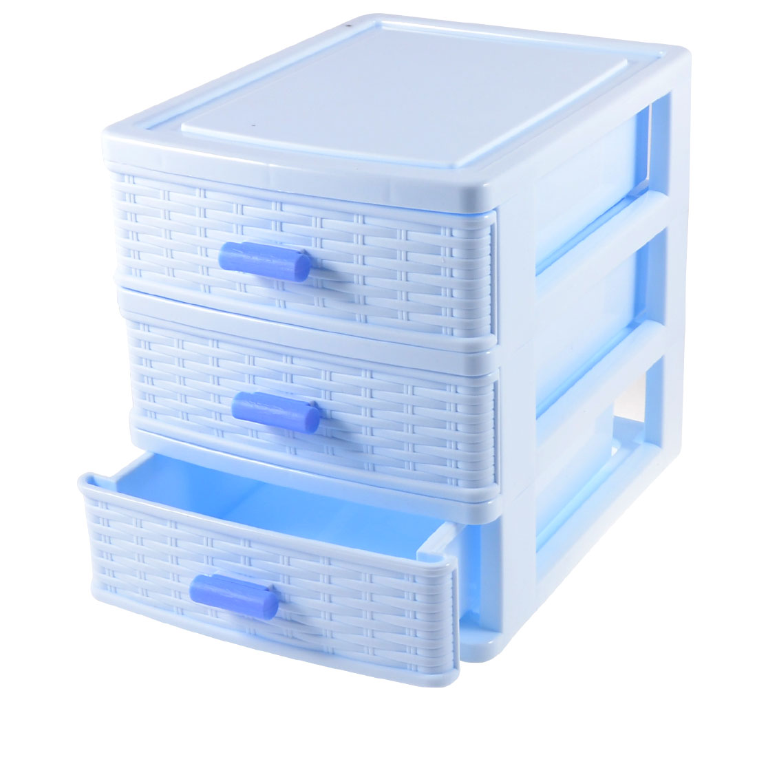 Unique Bargains Light Blue Plastic 3 Layer Cosmetic Lipstick Hairclip Storage Box Organizer