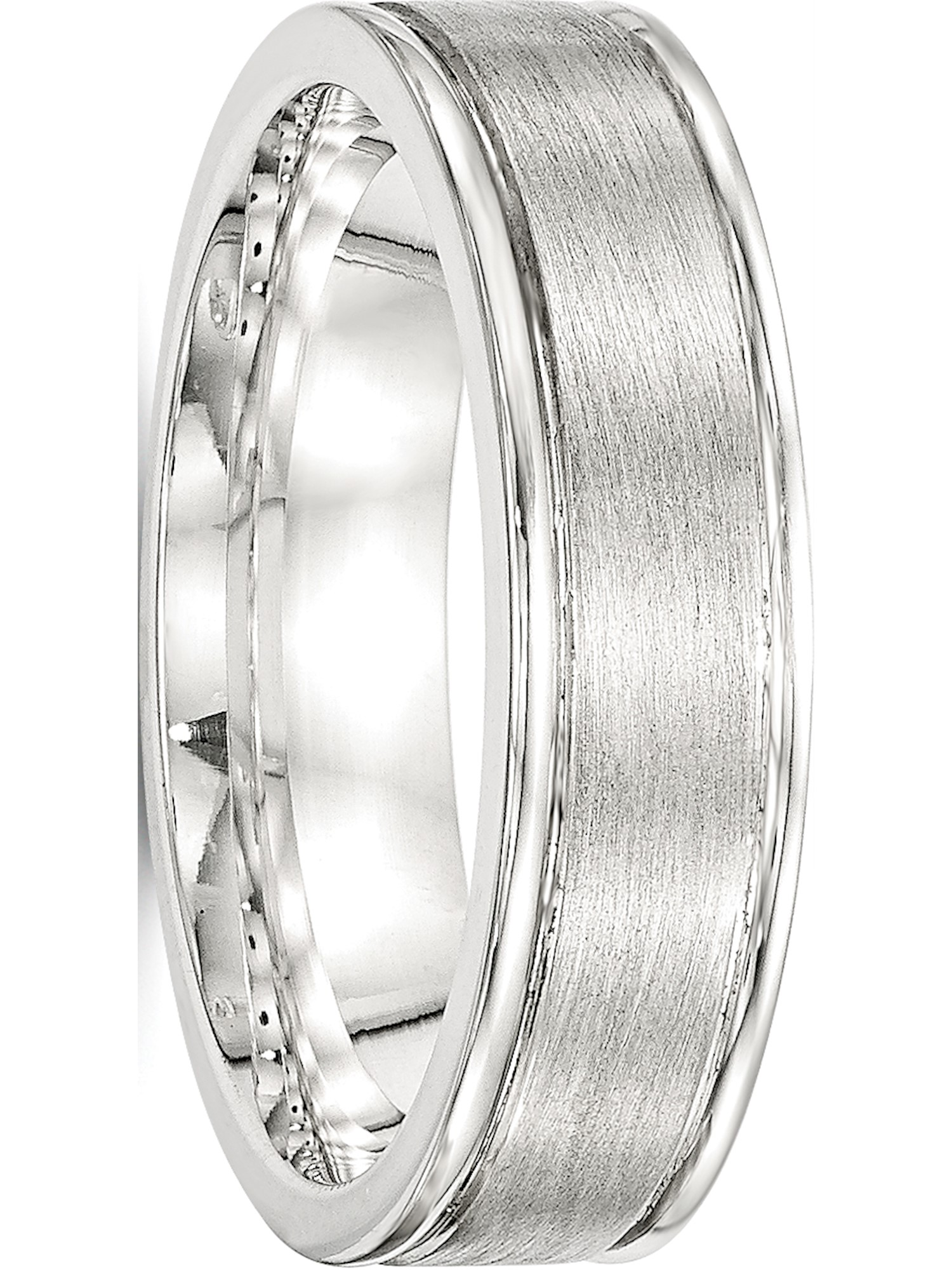 Full /& Half Sizes 925 Sterling Silver 6mm Polished Grooved Fancy Flat Wedding Ring Band Available in Sizes 7-13