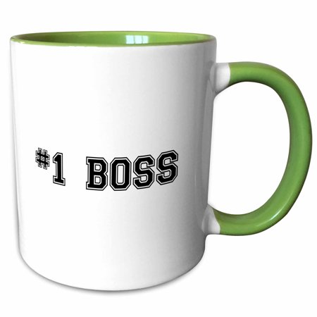 3dRose #1 Boss - Number One Best Greatest Boss - Work and Office gifts - fun flattering gifts - black - Two Tone Green Mug,