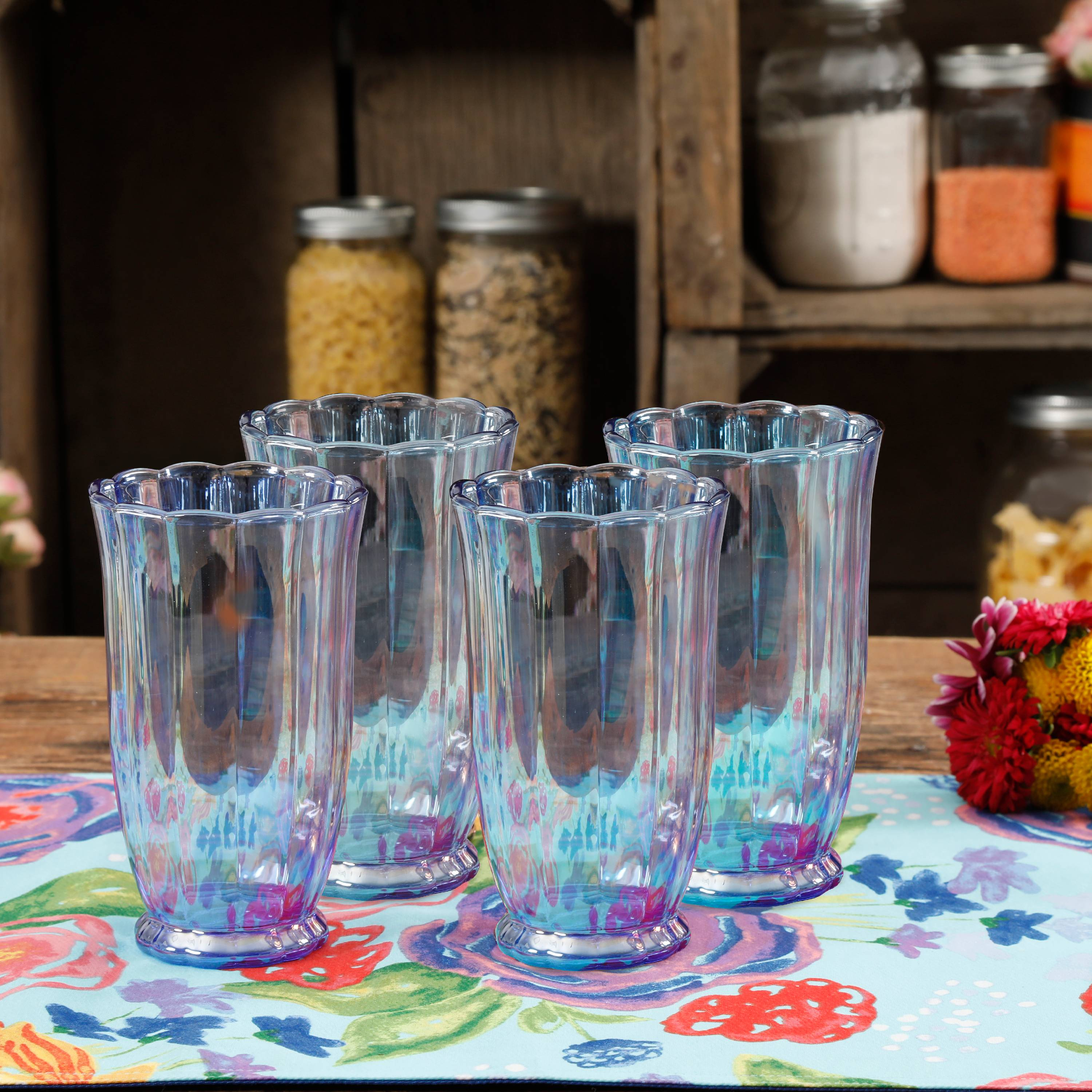 The Pioneer Woman Luster Blue 15oz Pearlized Tumbler, Set of 4