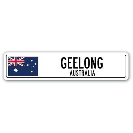 GEELONG, AUSTRALIA Street Sign Australian flag city country road wall gift - No Halloween Sign Australia