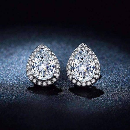 ON SALE - Diamond White Infused 1CT Austrian Crystal Pear Stud Earrings Diamond White
