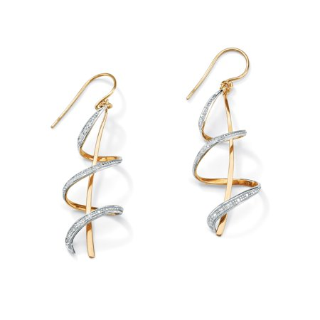 Diamond Accent 18k Gold over Sterling Silver Ribbon Drop (Sterling Silver Ribbon Earrings)