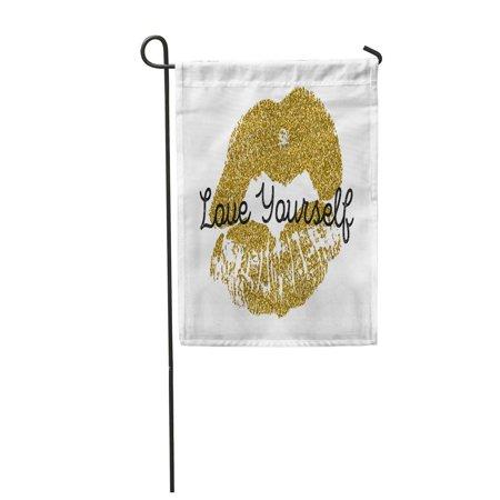 SIDONKU Gold Lips on Kiss Pattern Woman Lipstick Mark Mouth Garden Flag Decorative Flag House Banner 12x18 (Name Something Women Leave Lipstick Marks On)
