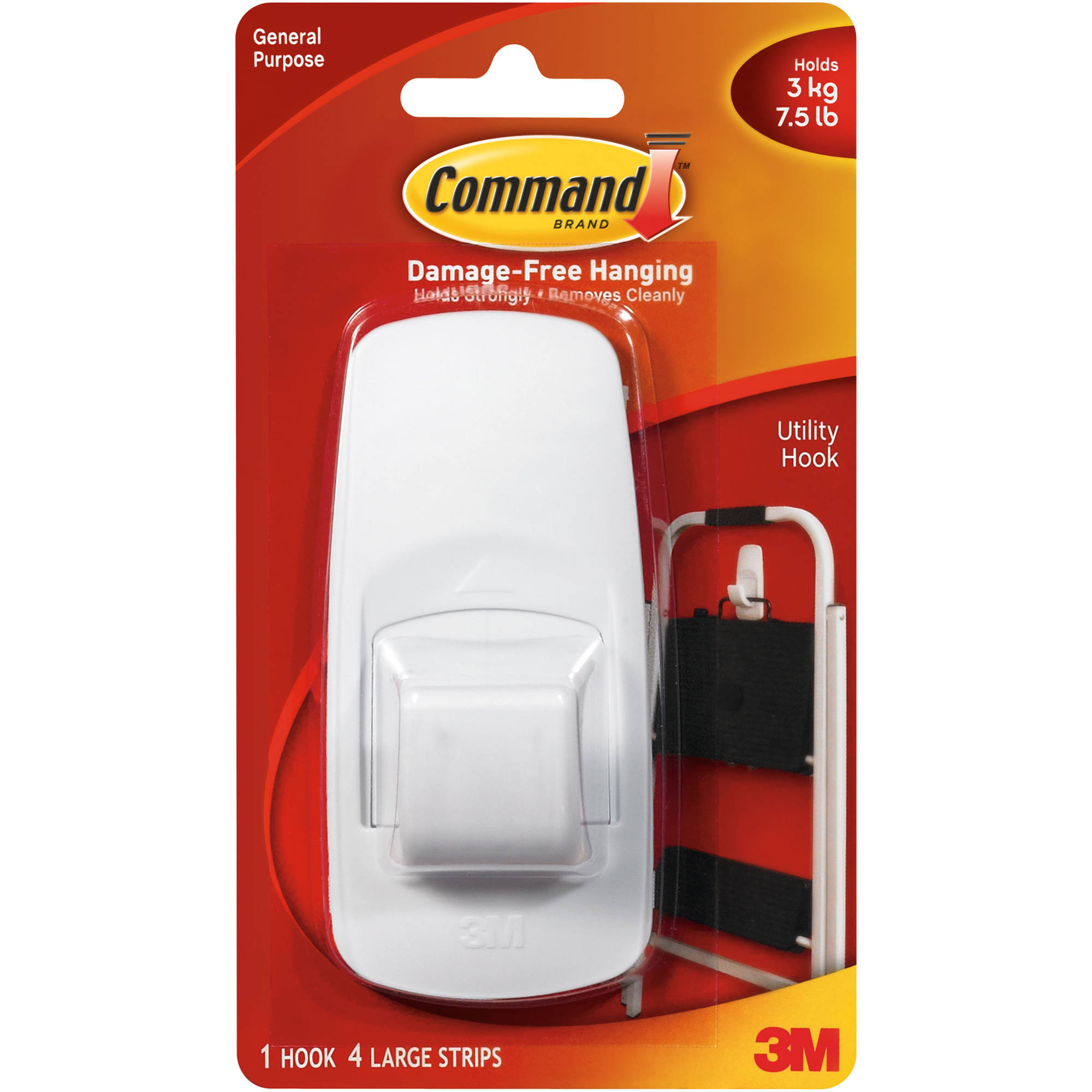 Command Jumbo Hook, White, 1 Hook, 2 Strips, 17004