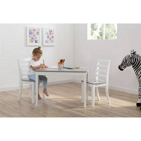 Delta Children Gateway Table and 2 Chairs Set, Grey & White