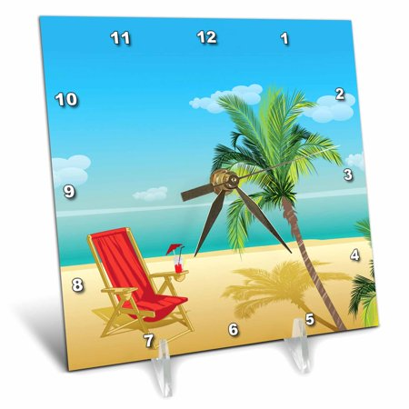 3dRose Beach Scene With A Beach Chair and Palm Tree - Desk Clock, 6 by 6-inch - Palm Trees And Beach Scenes