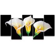 Metal Artscape Lilies in the Dark 5 Piece Graphic Art Plaque Set