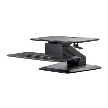 Monoprice Height Adjustable Gas Spring Sit Stand Riser Table/Desk Converter - Black | 15.7 x 23.6 Area, Single Monitor With Free Standing Base - Workstream Collection
