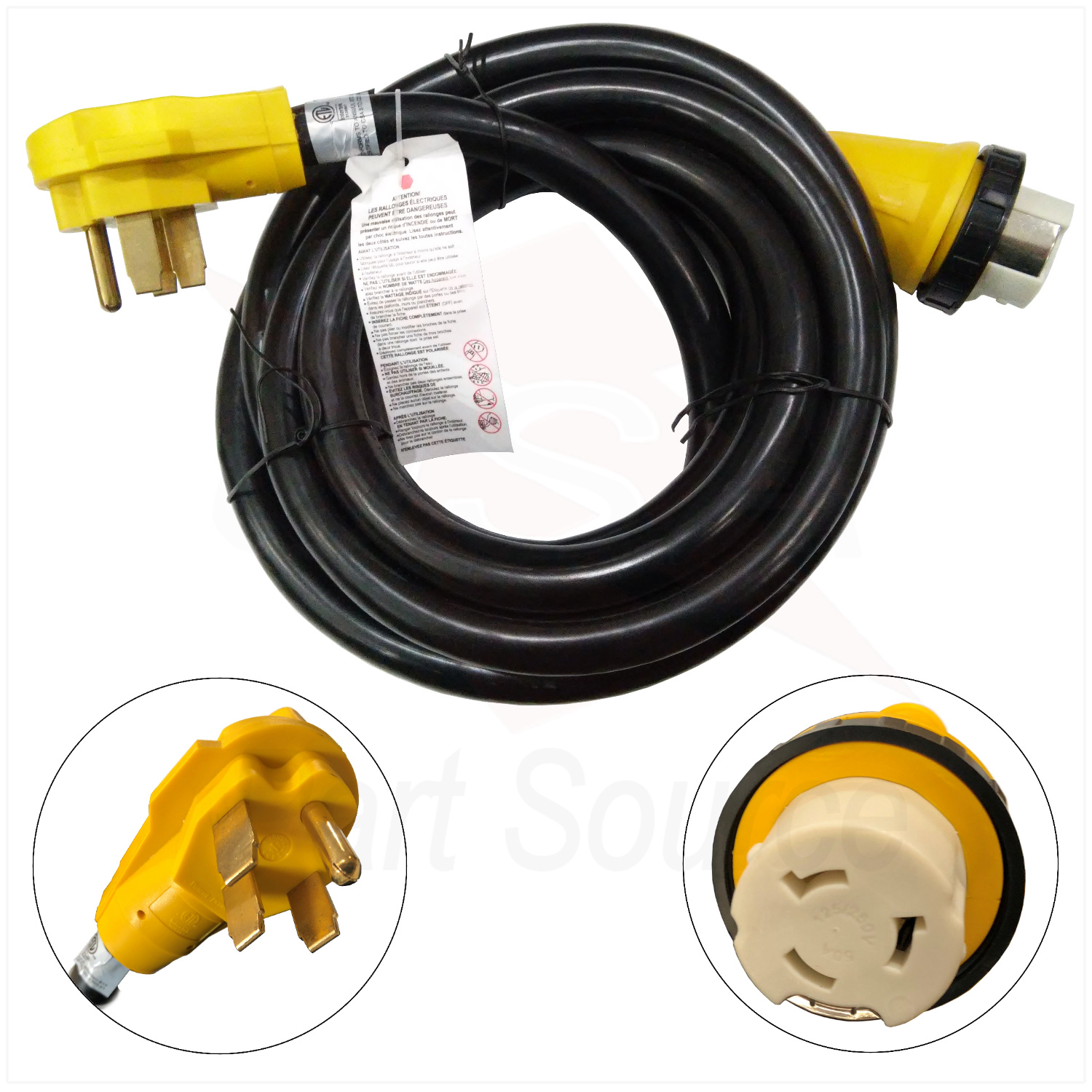 new 15 foot rv power cord adapter 15 ft 50 amp detachable cable with twist lock. Black Bedroom Furniture Sets. Home Design Ideas