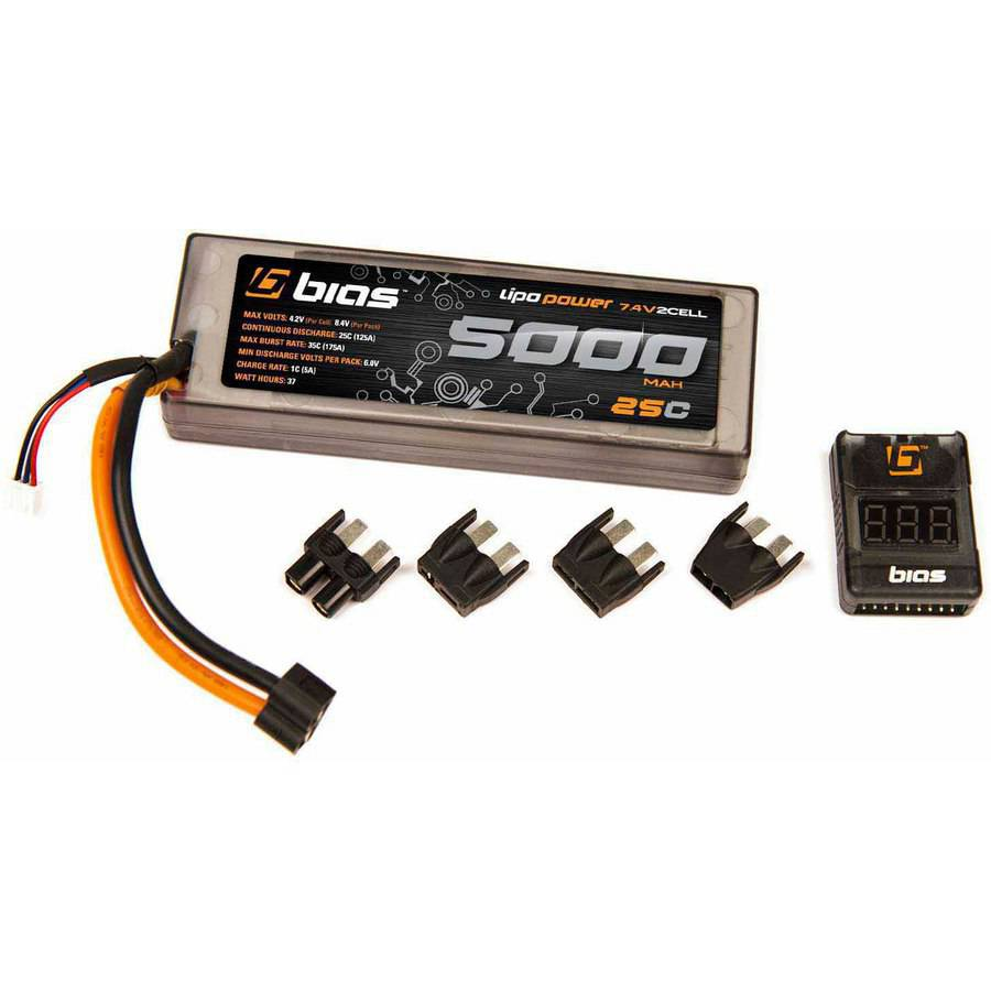 Bias 25C 2S 5000mAh 7.4V LiPo Hard Case Battery UNI Plug (EC3/Deans/Traxxas/Tamiya) for RC Car, Truck, Buggy, Boat, Heli, and Drone