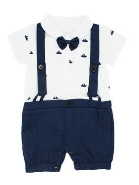 Bilo Sailor Boat Print Faux Suspender Formal Wear Baby Boy Short Sleeve Romper