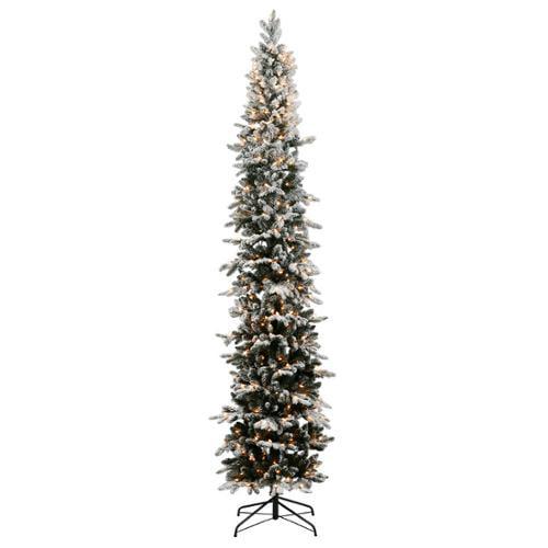 7' Pre-Lit Pencil Flocked Tannenbaum Artificial Christmas Tree - Warm White LED Lights