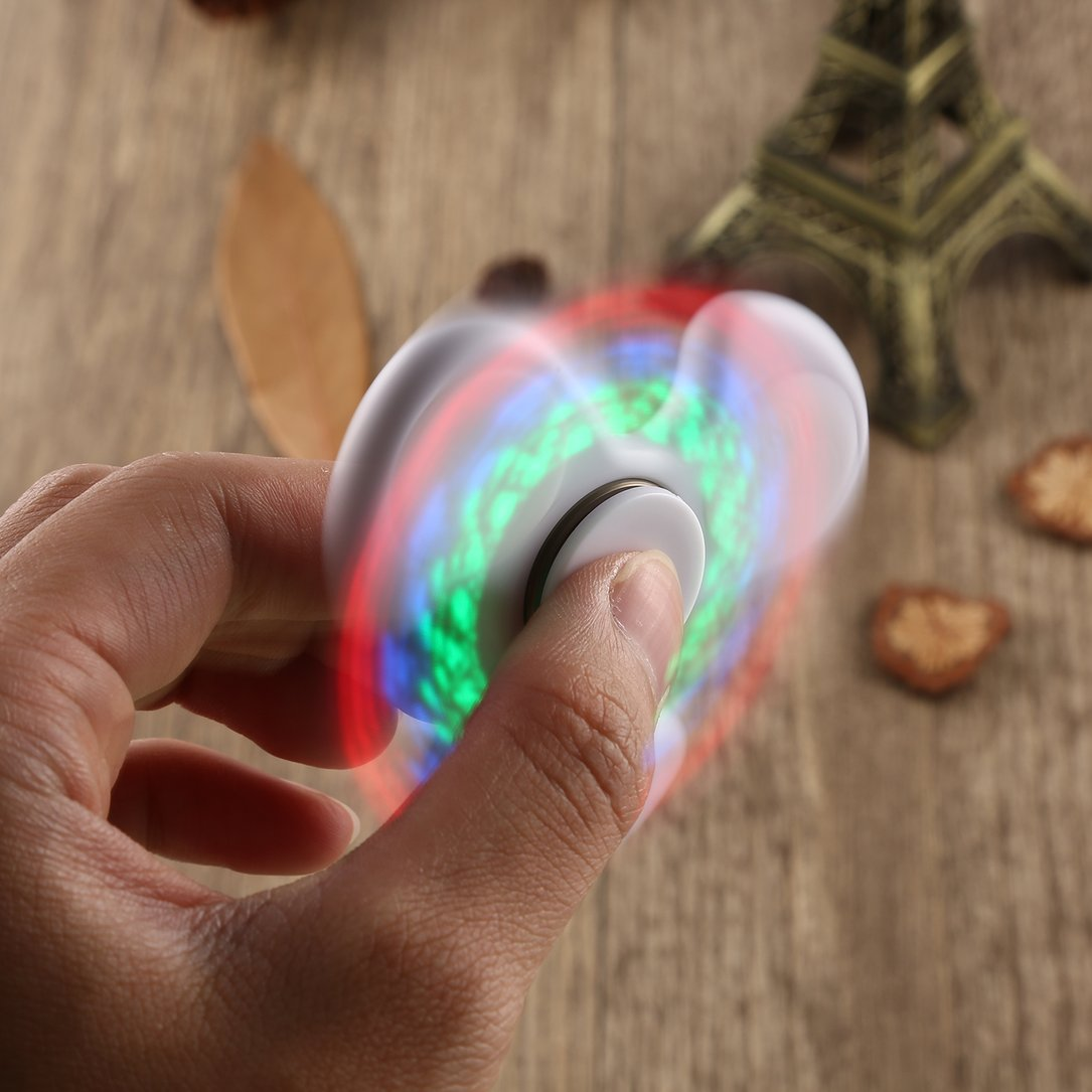 Colorful LED Rainbow Light Hand Spinner Toy For Autism ADHD Switch Toys Gift