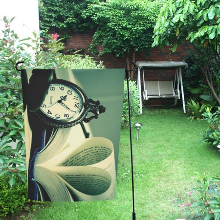 Image of MYPOP Pocket Watch With Books Decor Garden Flag 28x40 inches