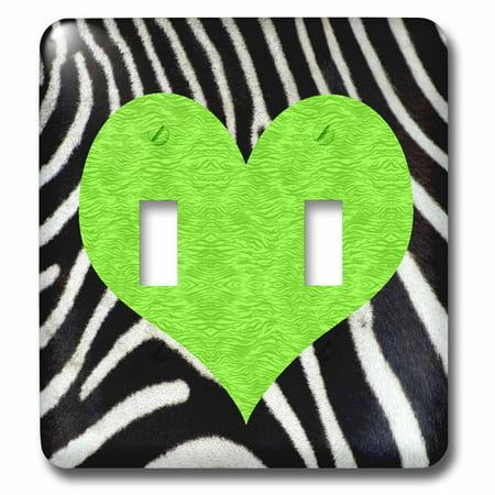 Green Zebra Animal Print - 3dRose Punk Rockabilly Zebra Animal Stripe Green Heart Print - Double Toggle Switch (lsp_20391_2)