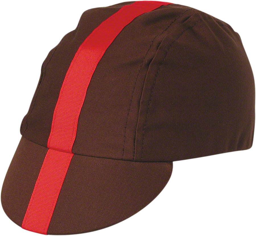 Pace Sportswear Classic Cycling Cap: Chocolate with Red Tape, MD/LG