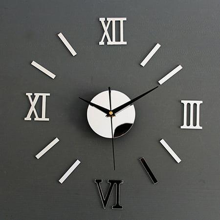 Roman Decor (3D Mirror Surface Roman Number Frameless Wall Clock Home)