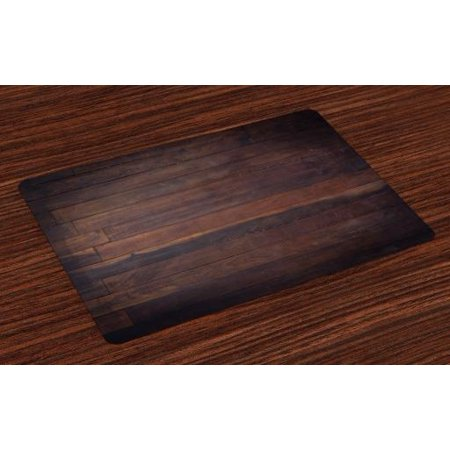 Chocolate Placemats Set of 4 Aged Weathered Dark Timber Oak Wooden Planks Floor Image Country Life Carpentry, Washable Fabric Place Mats for Dining Room Kitchen Table Decor,Dark Brown, by - Palace Floor