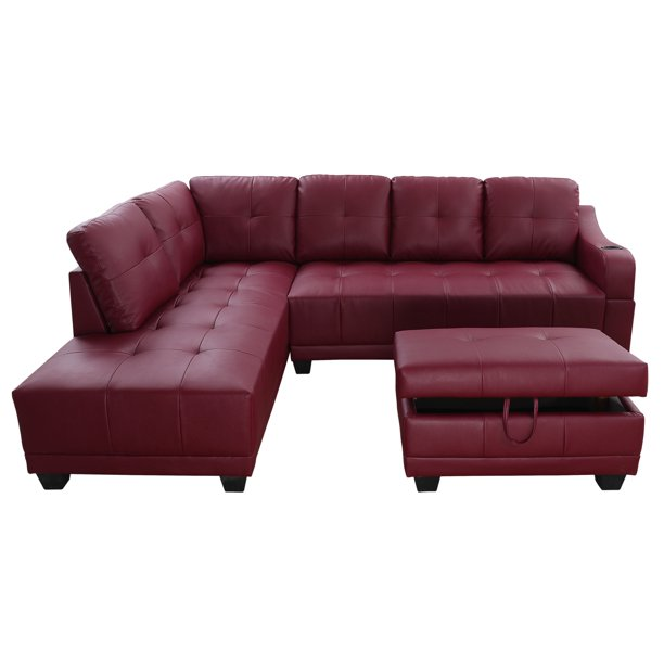 sectional sofa aycp furniture red faux leather sectional sofa with cup holder on the arm and storage ottoman left hand facing chaise more colors and