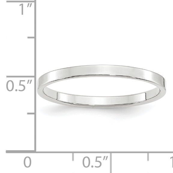 14k White Gold 2mm Ltw Flat Wedding Ring Band Size 7.5 Classic Fine Jewelry Gifts For Women For Her - image 2 de 4