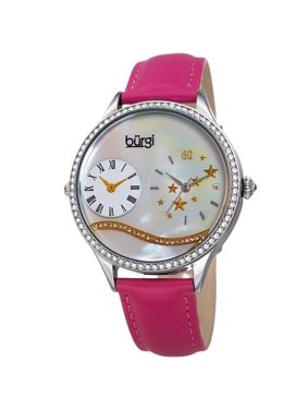 39b12987954 Burgi Women s Crystal Wave Dual Time Pink Leather Strap.