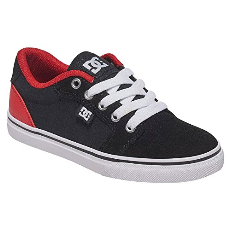 DC Kid's Anvil Lace Up Skate Sneakers Black Canvas 3 Little Kid M