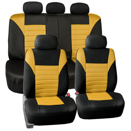Yellow Seat (FH Group Universal Fit Premium Airbag Compatible Yellow 3D Air Mesh Full Set Seat)