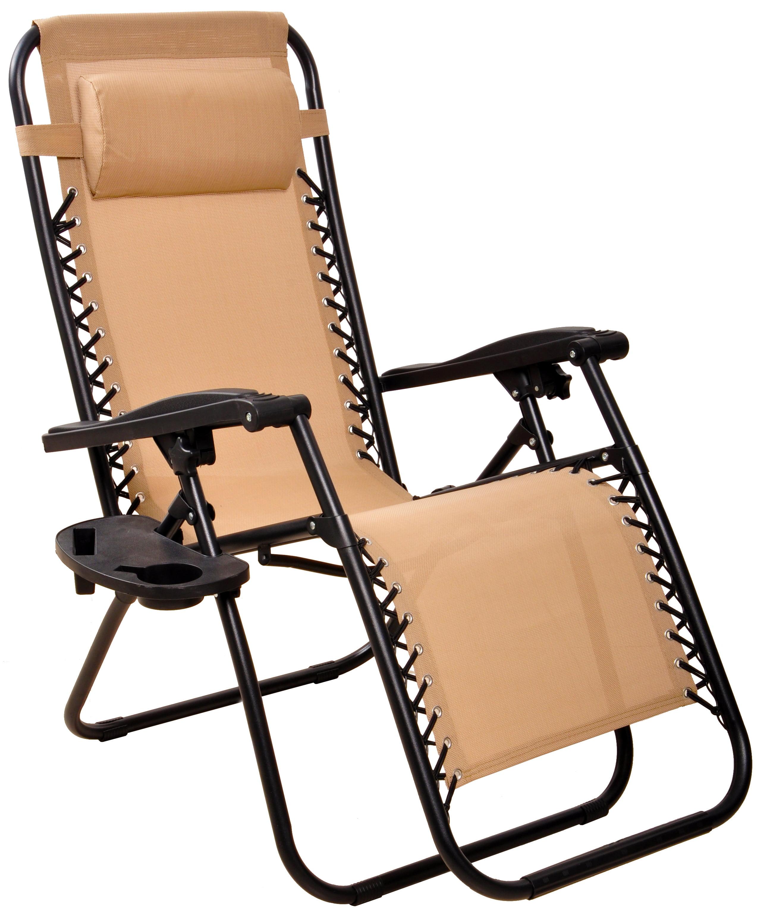 Set of 2 Loungers - Cream Blush Marko Outdoor Reclining Sun Lounger Zero Gravity Folding Chair Bed Seat Patio Garden Poolside Recliner