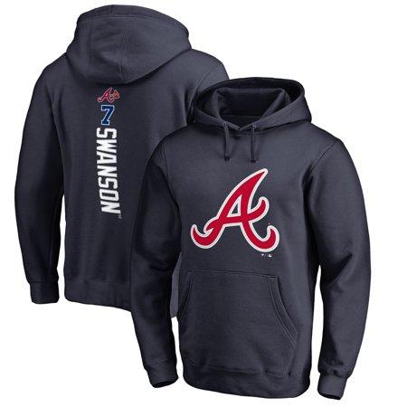 Dansby Swanson Atlanta Braves Fanatics Branded Backer Pullover Hoodie - Navy Atlanta Braves Pullover Jacket