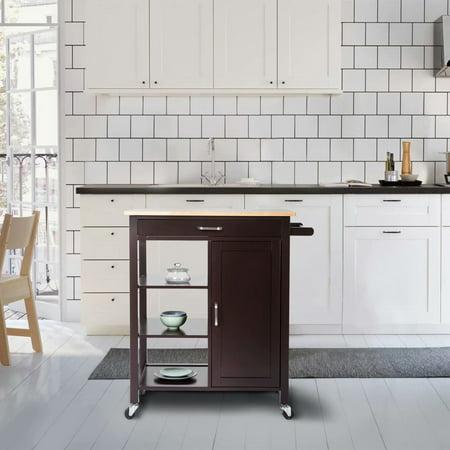 Kinbor 4-Tier Rolling Kitchen Island Storage Trolley Cart Cabinet Utility, w/Towel Bar & Drawer, Rubber Wood Top Kitchen Cart Dark Brown