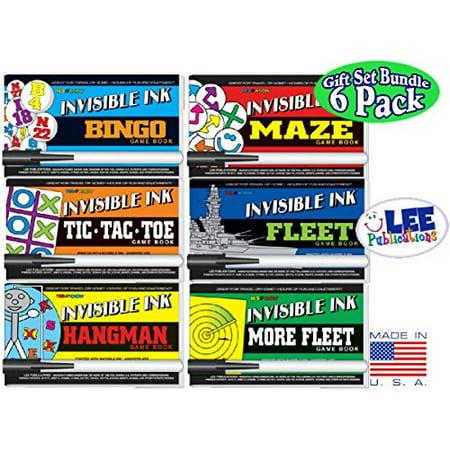 Invisible Ink  Yes   Know Game Books  Bingo    Tic Tac Toe    Hangman    Maze    Fleet     More Fleet  Activity Books Gift Set Bundle   6 Pack