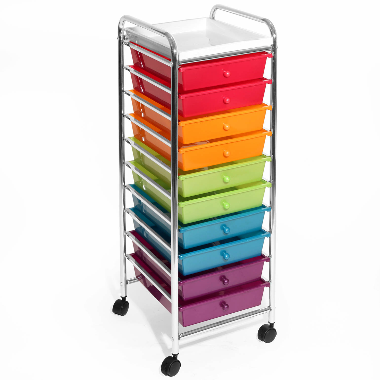 Seville Classics 10-Drawer Organizer Cart, Pearlized Multicolor