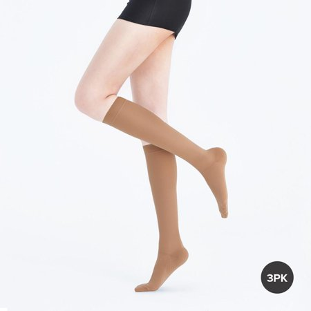 Fytto Dailywear Women Knee High Nude 20-30mmHg,Medium(3-Pack