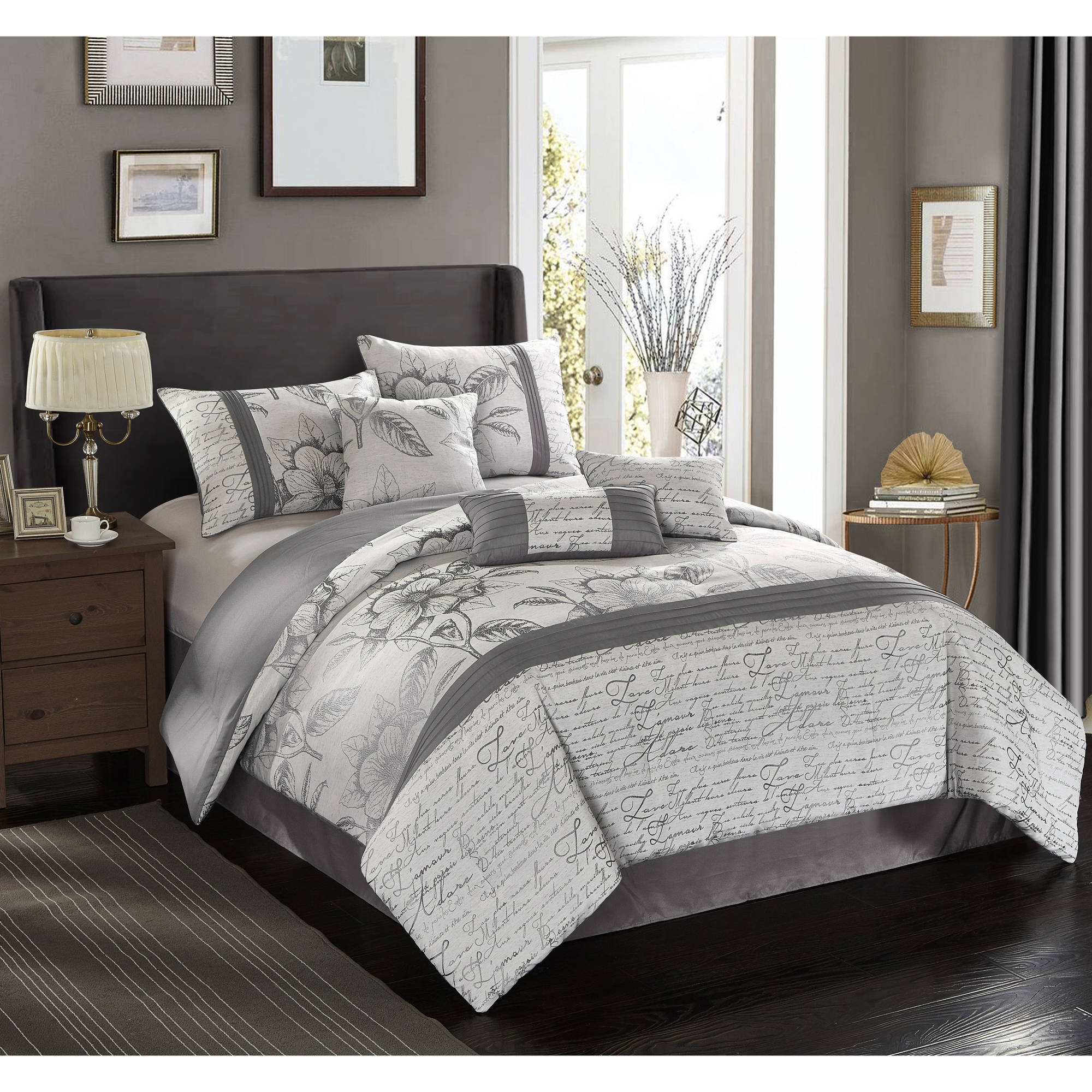 piece comforter dp set silver chic romantica queen home com kitchen amazon