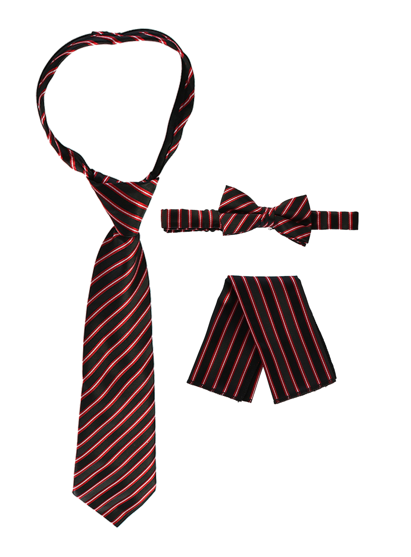Gioberti Boy's Striped Zippered Tie, Bow Tie, and Handkerchief Set