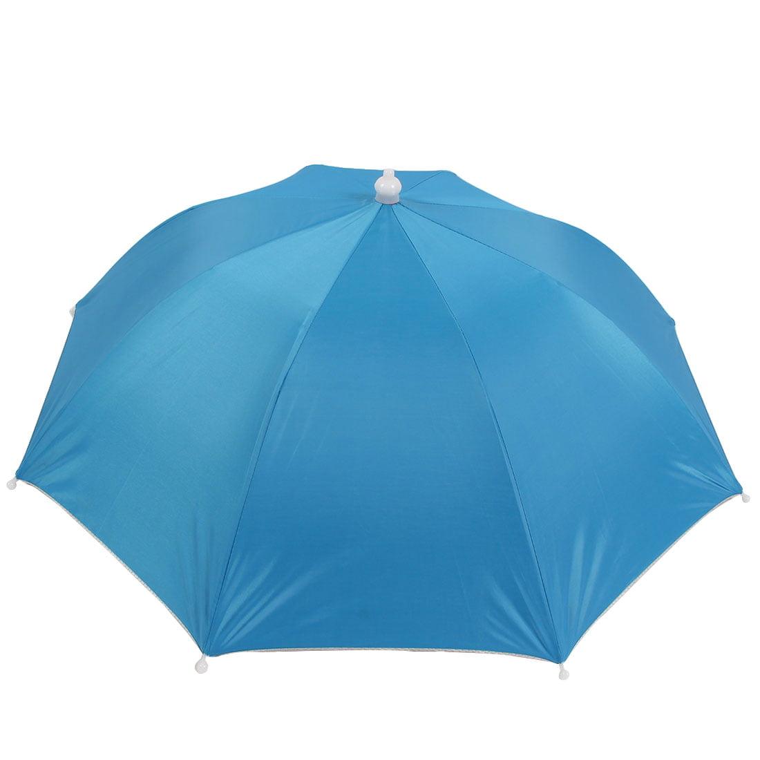 Blue Polyester Sun Rain Shade 8 Rib Headwear Umbrella Cap