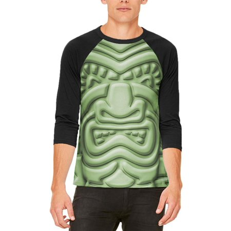 Tiki God Green Face Luau Mens Raglan T Shirt](Tiki Man Face)