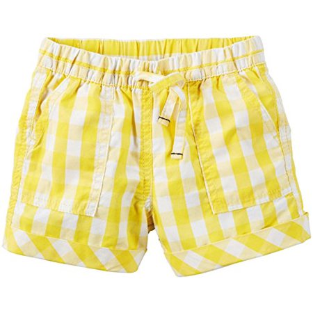 Carter's Little Girls' Plaid Shorts, Yellow/White, 5 Kids