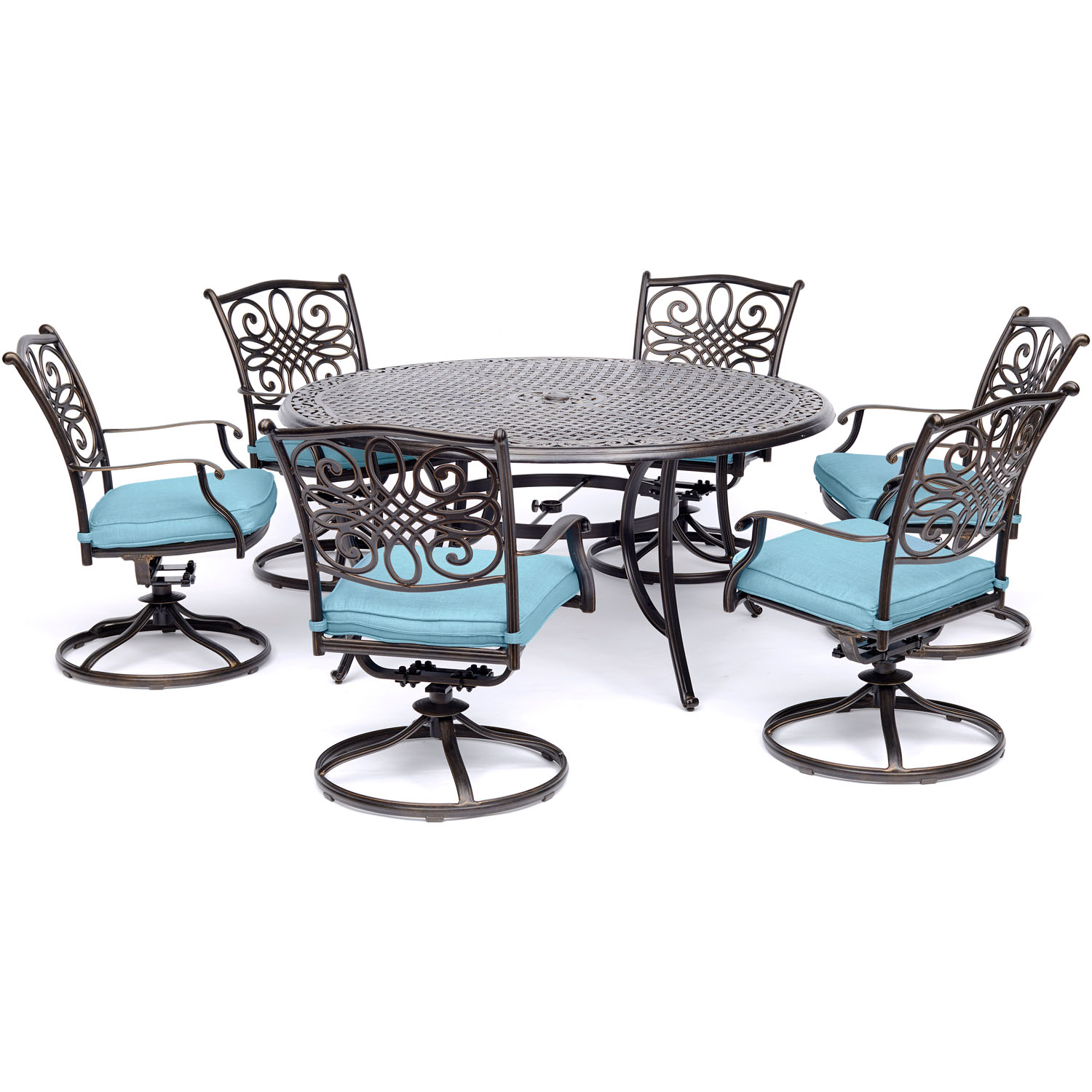 Hanover Traditions 7-Piece Outdoor Dining Set with Round Cast-Top Table and 6 Swivel Rockers