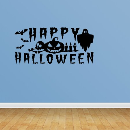 Wall Decal Quote Halloween Scene Halloween Decal Happy Halloween Script Splatter Cemetary Scene Wall Decal JP668 - Work Related Halloween Quotes