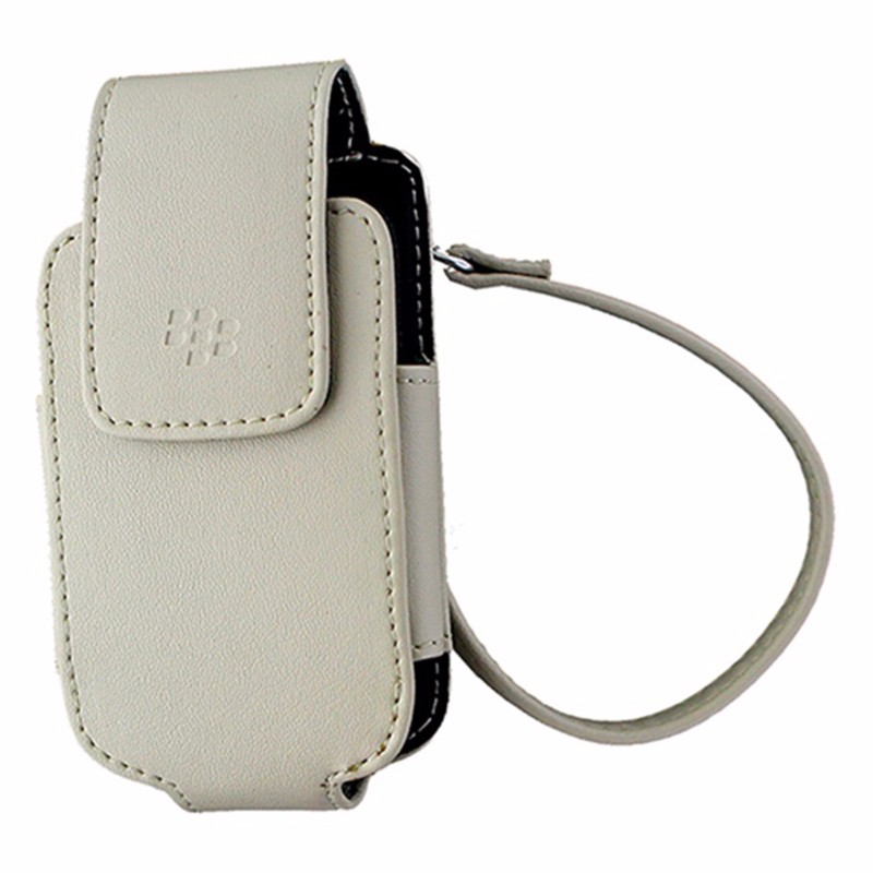 BlackBerry Leather Pouch with Strap for BlackBerry Pearl Flip 8220 - Sandstone