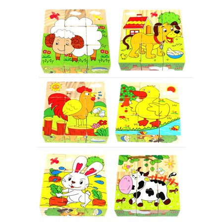 2 Pack Building Blocks Cartoon 3D Puzzles Toy for Kids Toddler Girl Boy Gift