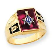 14k Yellow Gold Men's Synthetic Ruby Masonic Ring